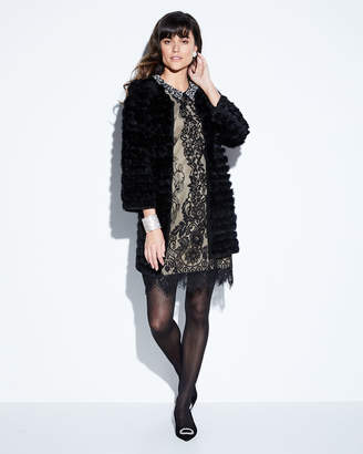 Betsey Johnson Pearly-Collar Lace Shift Dress