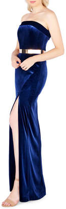 Mac Duggal Strapless Velvet Gown with Thigh-Slit & Golden Belt