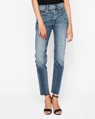 Express High Waisted Raw Hem Original Vintage Skinny Jeans