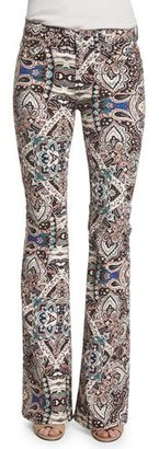 7 For All Mankind Low-Rise Paisley Flare-Leg Jeans, Capri Paisley $215 thestylecure.com