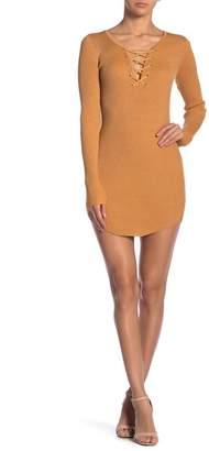 Planet Gold Marled Metallic Long Sleeve Sweater Dress