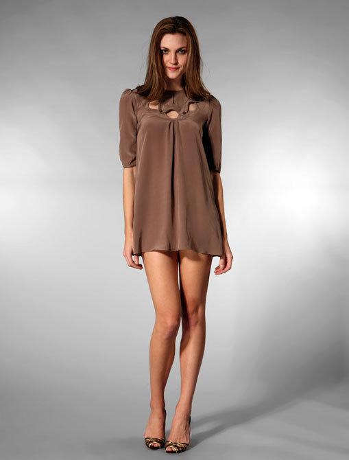 Olga Kapustina Shirred Sleeve Tunic in Slate