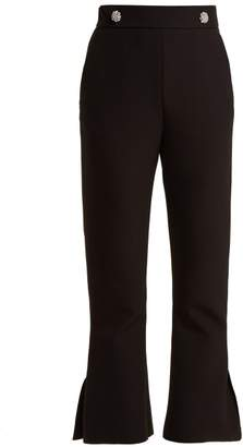 MSGM Crystal Button Mid Rise Crepe Trousers - Womens - Black
