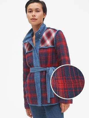 Gap Plaid Patchwork Quilted Tie-Belt Jacket
