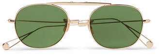 Garrett Leight California Optical Van Buren Folding Aviator-Style Gold-Tone Sunglasses
