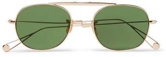 Garrett Leight California Optical Van Buren Folding Aviator-style Gold-tone Sunglasses