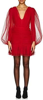 KALMANOVICH Women's Swiss Dot Tulle Minidress - Red