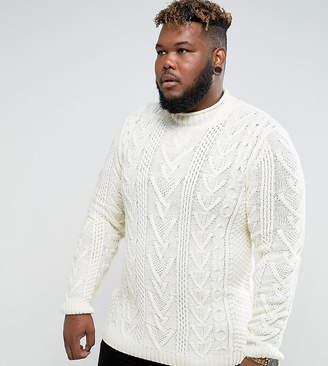 Asos DESIGN PLUS Cable Knit Sweater In Oatmeal