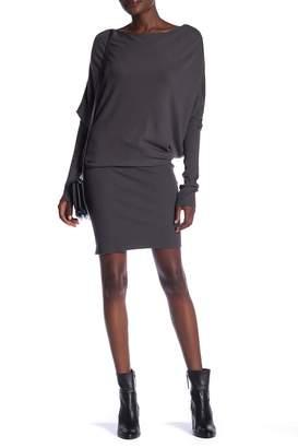 Love Stitch Ribbed Hem Sweater Dress