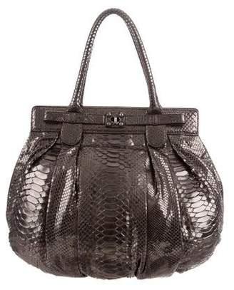 Zagliani Metallic Python Puffy Bag
