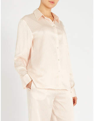 Asceno Striped silk-satin pyjama top