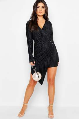 boohoo Long Sleeve Plisse Wrap Ring Detail Midi Dress