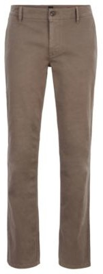 BOSS Regular-fit casual chinos in brushed stretch cotton