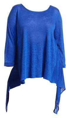 Caroline Rose Wild Card Knit High-Low Linen Tunic