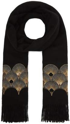 Johnstons of Elgin Embroidered Cashmere Scarf