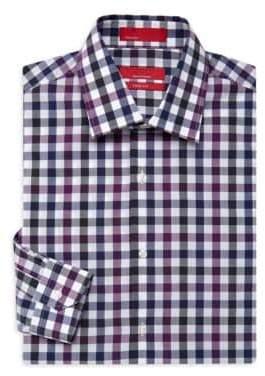 Saks Fifth Avenue RED Gingham Trim-Fit Dress Shirt