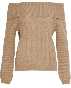 N.Peal Off-the-shoulder Cable-knit Cashmere Sweater