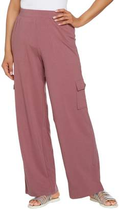 Denim & Co. Beach Regular Wide-Leg Pull-On Knit Cargo Pants