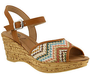 Spring Step Leather and Textile Wedge Sandals -