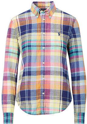 Polo Ralph Lauren Boy Fit Plaid Linen Shirt $98.50 thestylecure.com