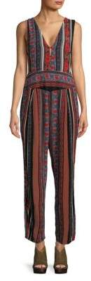 Free People All Shook Printed Self-Tie Jumpsuit