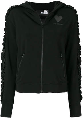 Love Moschino ruched sleeve zipped hoodie