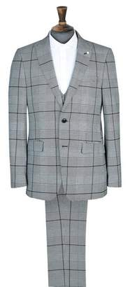 Mens Black And White Graphic Check Print Slim Fit Suit Jacket