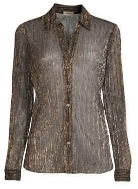 L'Agence Nina Metallic Knit Blouse