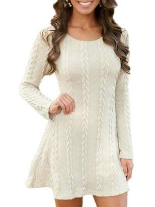 MiYang Women's Knitted Long Sleeve Solid Color Length Midi Dress