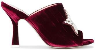 ATTICO Burgundy Velvet Debbie crystal 115 mules