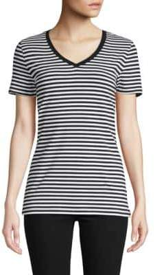 Saks Fifth Avenue Striped V-Neck Tee