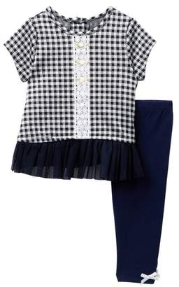 Pippa Pastourelle by and Julie Short Sleeve Plaid Tunic & Leggings Set (Baby Girls 12-24M)