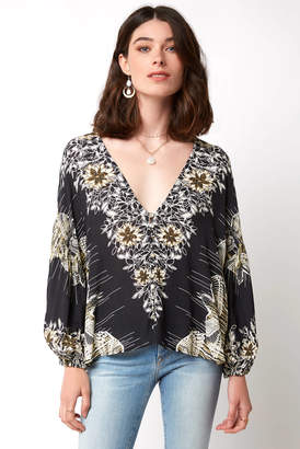 Free People Birds Of A Feather Printed V Neck Hi Lo Top