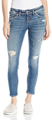 Silver Jeans Co. Women's Aiko Mid Rise Ankle Skinny Jeans