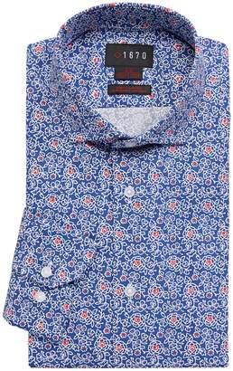 1670 Slim Fit Stretch Floral Print Dress Shirt