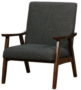 Mid-Century MODERN Furniture of America Kikee Dark Gray Upholstered Accent Chair