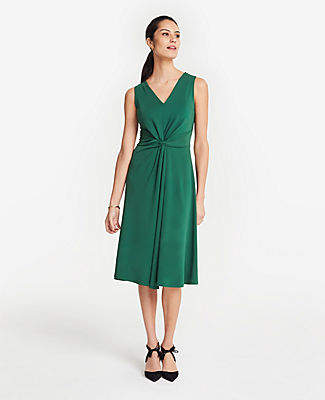 Ann Taylor Tall Matte Jersey Knot Front Midi Dress