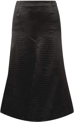 Sonia Rykiel Croc-effect Embossed Satin Midi Skirt
