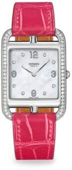 Hermes Cape Cod Diamond, Mother-Of-Pearl& Leather Strap Watch