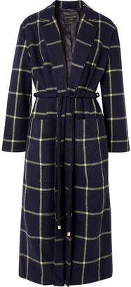 Mother of Pearl Anya Checked Wool-blend Coat - Navy