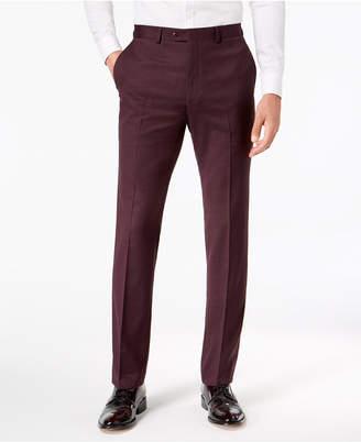 Sean John Men's Slim-Fit Stretch Burgundy Sharkskin Suit Pants