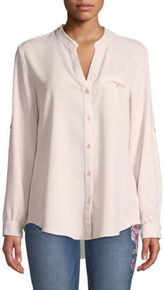 KUT from the Kloth Jasmine Button-Front Chiffon Blouse