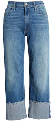Mother The Dusty Cuff Fray Straight Leg Jeans (Mums the Word)