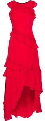 Sachin + Babi Lake Asymmetric Ruffled Floral-Appliquéd Silk Gown