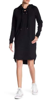 Love Stitch Grommet Lace-Up Hoodie Dress