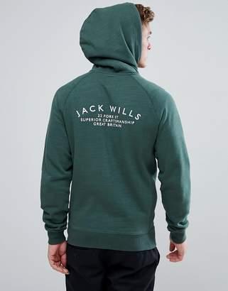Jack Wills Ederton Zip Up Hoodie With Back Print In Green