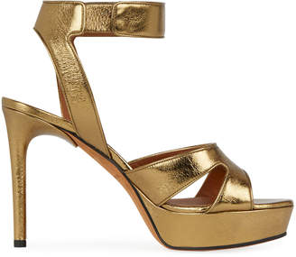 Givenchy Shark-Lock Metallic Leather Platform Sandal