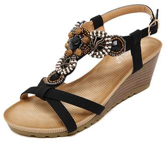e0fd09496916 Zarbrina Womens Wedge Sandals Bohemian Beads Adjustable Buckle up High  Platform Cushioned Footbed Wear