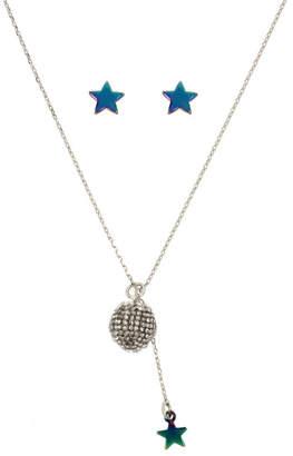 Betsey Johnson Crystal Fireball Pendant Necklace & Star Stud Earrings Set