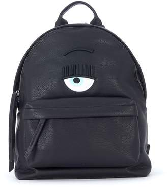 Chiara Ferragni Logo Black Faux Leather Backpack
